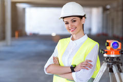Modern building business and a worker Stock Images