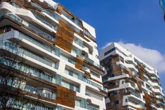 Modern building in cement and wood Stock Photography