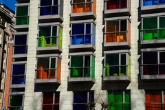 Modern building with colorful windows. BIlbao, Spain royalty free stock images