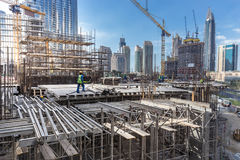Modern building constraction site works. Royalty Free Stock Images