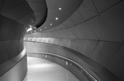Modern building corridor with curved form Stock Images
