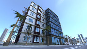 Modern building in district avenue 3D rendering Royalty Free Stock Image