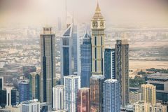 Dubai skyscrapers, United Arab Emirates. Modern building in the down town of Dubai Royalty Free Stock Photography