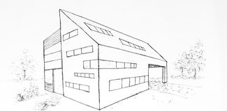 Modern building drawing made with black ink Royalty Free Stock Photos
