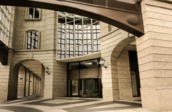Modern building exterior. Architecture of modern building exterior with beautiful windows and door Stock Images