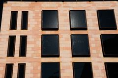 Modern building facade with black glass windows. Bilbao, Spain stock image
