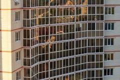 Modern building facade exterior, windows pattern construction Stock Photos
