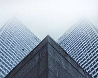 Modern building facade in fog Stock Images