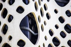 Modern building facade with holes