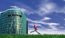 Modern building and girl jumpi. Ng with blue sky on the background Royalty Free Stock Image