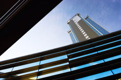 Modern building from glass and concrete with the geometry of lin Royalty Free Stock Photo