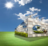 Modern building on green field Royalty Free Stock Images