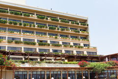 Modern building with greenery. Growing on the balconies Stock Photography