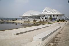New Gunagxi Culture and Arts center exterior Nanning China. Modern building Guangxi Culture and Arts center in city Nanning China royalty free stock photo