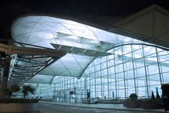 Modern Building in Hong Kong. Terminal 1 Departures Hall of Hong Kong International Airport Royalty Free Stock Images