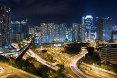 Modern Building in Hong Kong. In night time Stock Photography