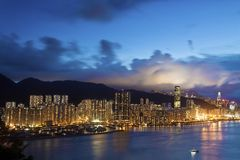 Modern Building in Hong Kong. In night time Royalty Free Stock Photo