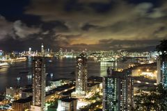 Modern Building in Hong Kong. In night time Stock Photos