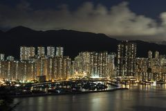 Modern Building in Hong Kong. In night time Royalty Free Stock Images