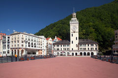 Modern building of hotels in Rosa Khutor Royalty Free Stock Photography