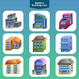 Modern building icons Stock Images