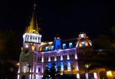 Modern building illumination in Batumi, Georgia Stock Image