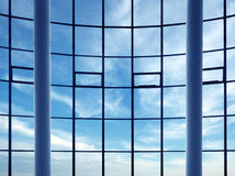 Modern building indoor: office window Royalty Free Stock Photos