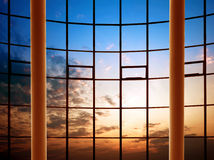 Modern building indoor: office window Royalty Free Stock Photography