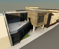 Modern building integrated in historic vector illustration