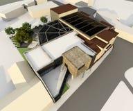 Modern building integrated in historic stock illustration
