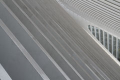 Modern Building Interior. An abstract closeup of the white concrete lines of a train station roof stock photos