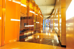 Modern building interior. Modern office building interior, mostly wood design stock images
