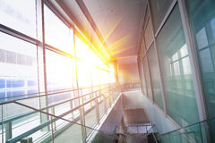 Modern building interior glass windows Stock Images