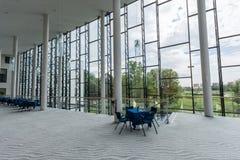 Modern building interior. Office building. Big bright windows. Stock Photo