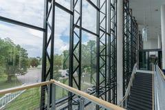 Modern building interior. Office building. Big bright windows. Stock Photography