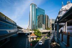 Modern building and intersection at Phaya Thai, in Bangkok, Thai Royalty Free Stock Photography