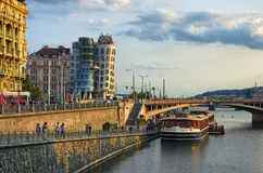Modern building, known as the Dancing House, designed by Vlado Milunic and Frank O. Gehry. Summer evening royalty free stock photography