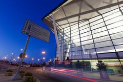 Modern building of Lech Valesa airport in Gdansk Stock Images