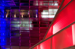 Modern Building in Linz. Red and blue shiny modern Building in Linz Royalty Free Stock Image