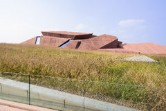 Modern building of Luxelake Art Expo Center in bristle-grassy on Stock Photos