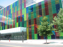 Palais des Congress, Montreal, Quebec. Business section Montreal Canada, multi colored office with tree, 2009 Stock Photos
