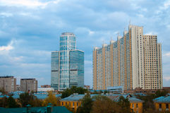 Modern building in Moscow. Of Russia, shot from the window royalty free stock images