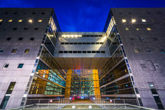 Modern building at night, at La Défense, in Paris, France. Royalty Free Stock Image