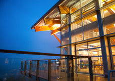 A modern building at night, Quest University, Squamish, BC Stock Image