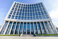 Modern office glass building over sky background Royalty Free Stock Photography