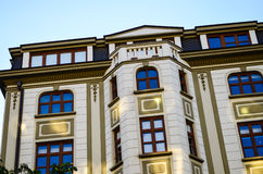 Modern building  in the old centre of Sofia ,. A charming      modern building  with  beautyful windows  in the centre of Sofia,Bulgaria Royalty Free Stock Images