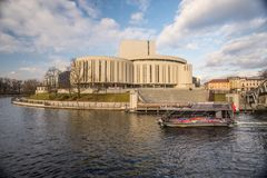 Opera house on bank of river in Bydgoszcz, Poland Royalty Free Stock Images