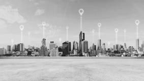 Modern buildings, pointing landmark location icons, black and white. Modern building, pointing landmark location icons, black and white Stock Images