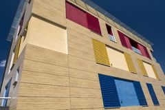 Modern building in Ponsacco, Tuscany. Exterior of colorful modern building in Ponsacco, Pisa, Tuscany, Italy Stock Image