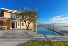 Modern building with pool stock photo